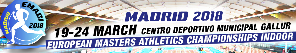 Madrid will host the European Masters Athletics Indoor Championship from 19th up to 24th of March 2018.